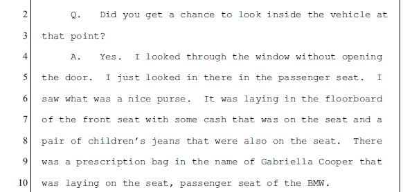 Dismukes testimony - Nancy's car